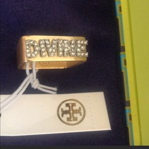 """Tory Burch """"Divine"""" message ring size 6"""